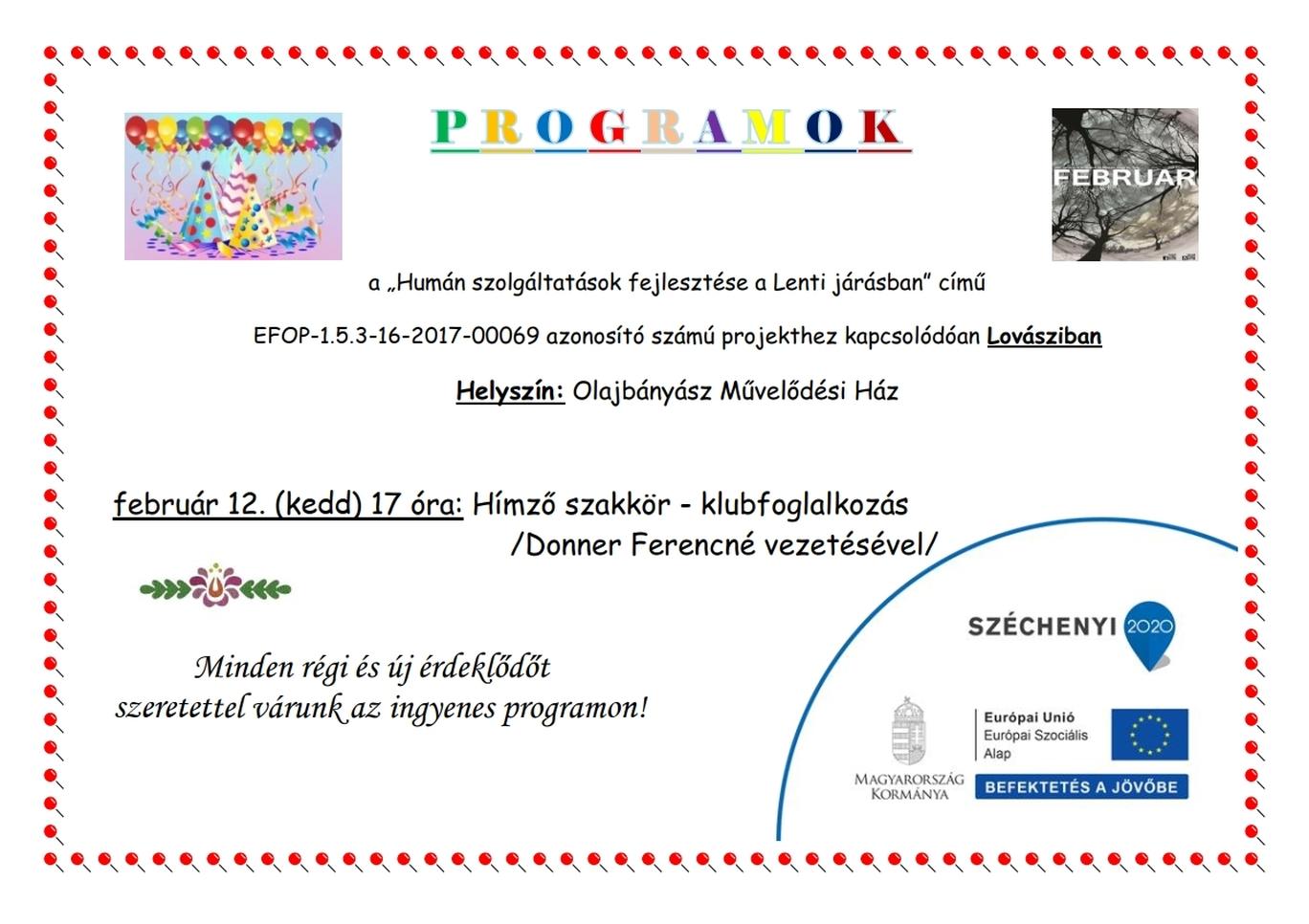 Az Olajbányász Művelődési Ház programjai